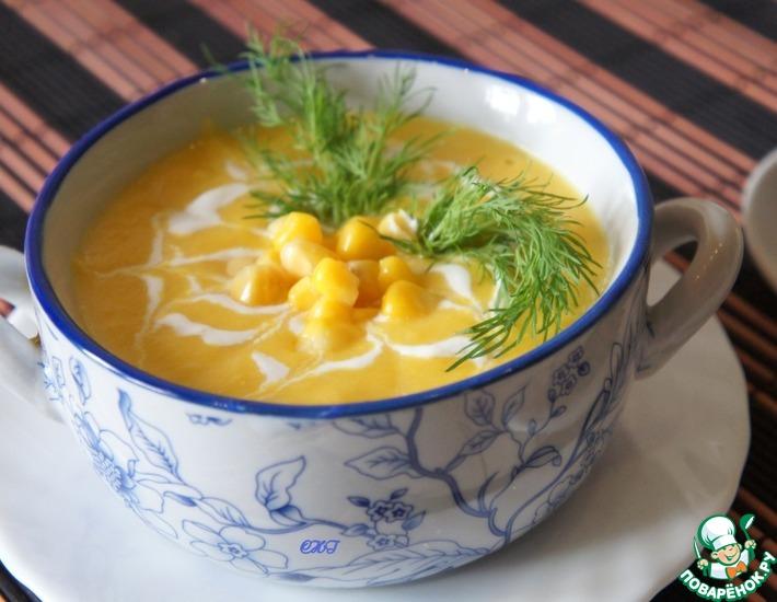 Рецепт: Крем-суп из консервированной кукурузы