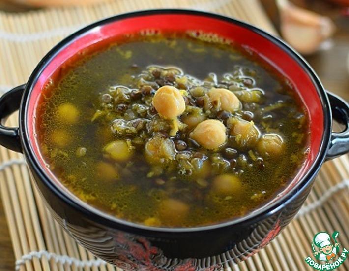 Рецепт: Контрастный суп с чечевицей и нутом