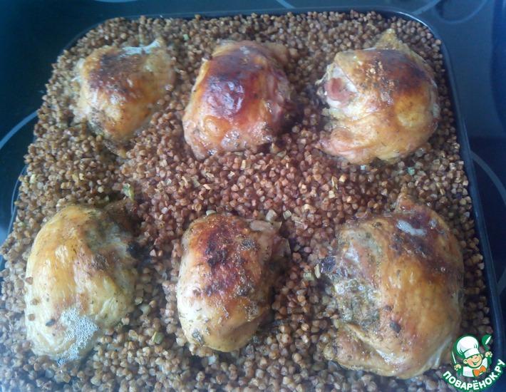 Рецепт: Куриные бедрышки с гречкой