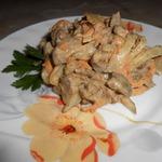 Салат с печенью и квашеным огурцом