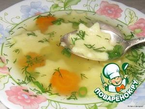Суп с заварными манными клецками