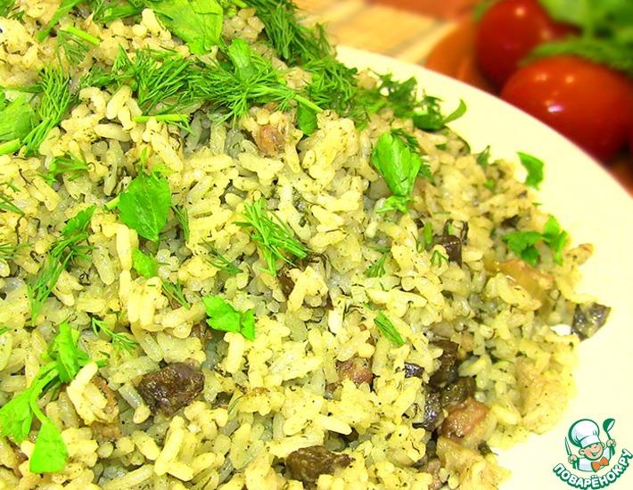 Рецепт: Зеленый плов с печенью Бахш