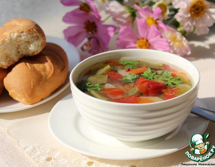 Рецепт: Суп с фасолью и овощами
