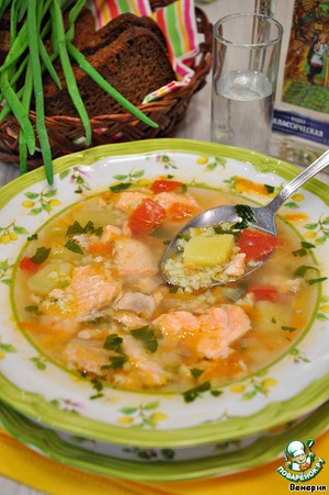 Soup of salmon with vegetables and millet