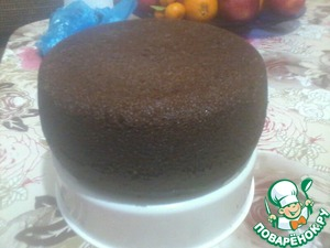 Chocolate cake on the boiling water in a slow cooker