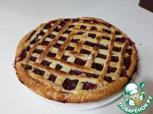 Рецепт: Вишневый пирог из песочного теста