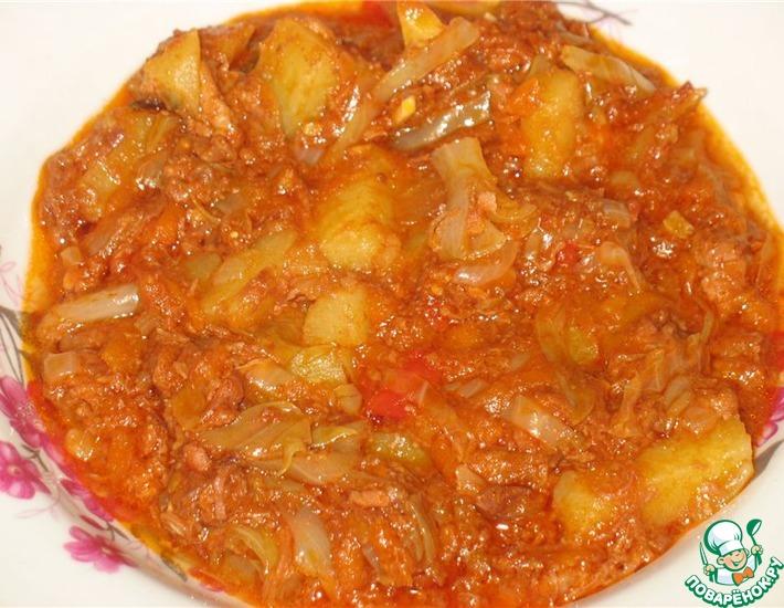 Рецепт: Овощное рагу с тушёнкой в мультиварке