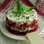 Салат двойной овощной с мясом