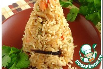 Рецепт: Рис по-малазийски с куриным филе и грибами