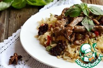 Рецепт: Говядина с бадьяном и зеленым рисом