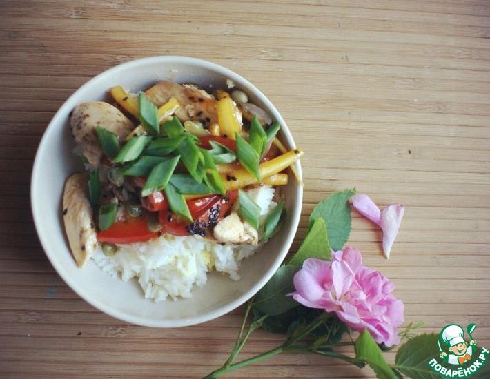Рецепт: Вок с курицей и рисом