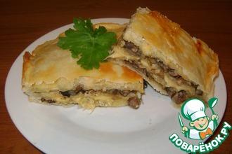Рецепт: Слоёнка с грибами, луком и сыром