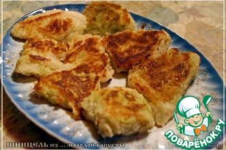 Рецепт: Шницель из капусты с ореховым соусом