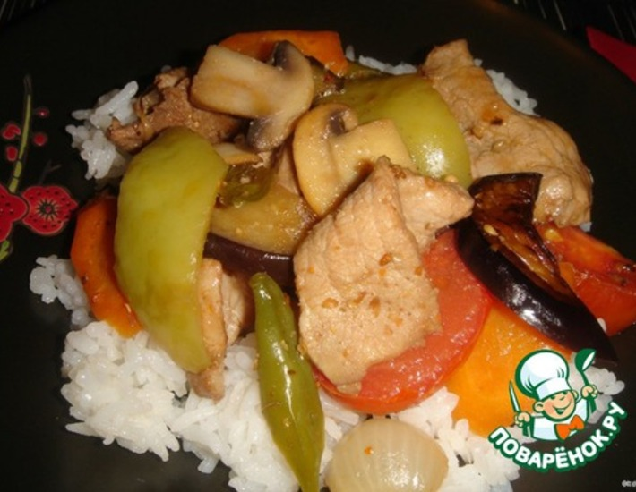 Рецепт: Мясо с овощами по-китайски