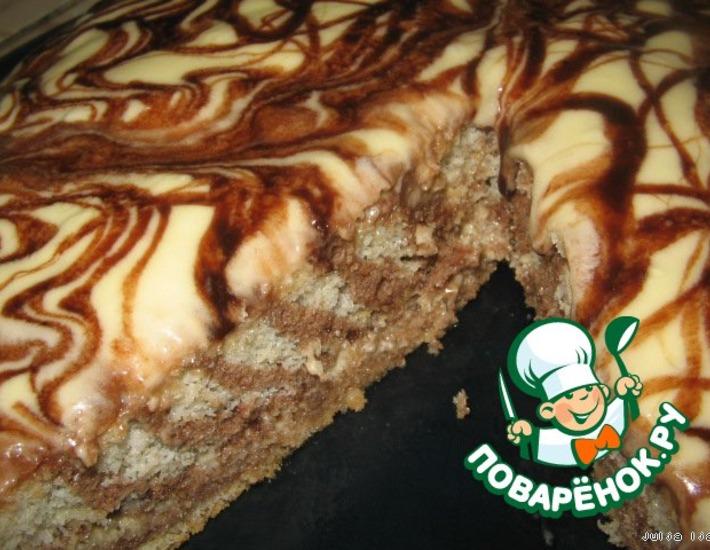 Рецепт: Торт Полоска белая, полоска чeрная