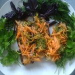Баклажаны Лето с морковью и зеленью в маринаде
