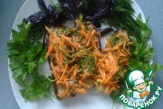 Рецепт: Баклажаны Лето с морковью и зеленью в маринаде