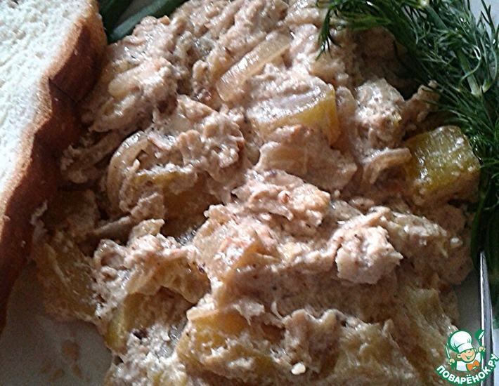 Рецепт: Курица с кабачками в сметане