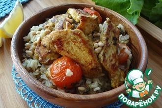 Рецепт: Плов из коричневого риса с жареной курицей