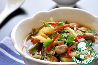 Рецепт: Грибной суп со стручковой фасолью и баклажанами