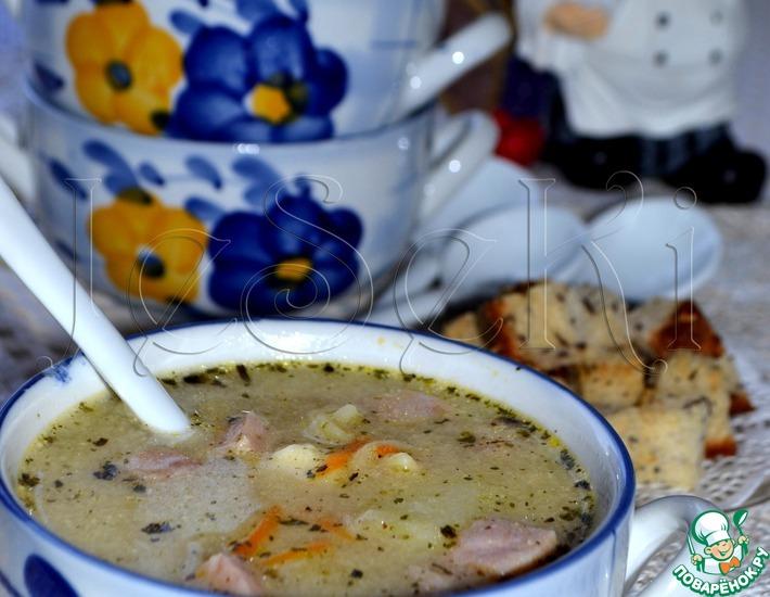 Рецепт: Сливочно-сырный суп с ветчиной и сухариками