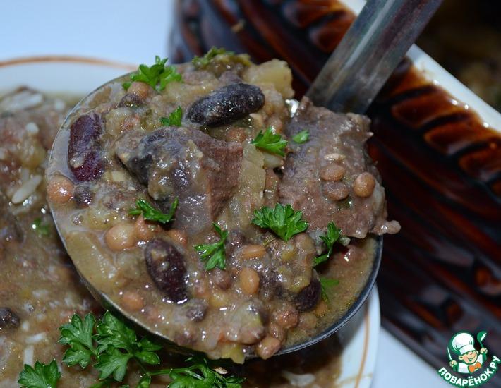 Рецепт: Хамин. Суп из глиняного горшочка