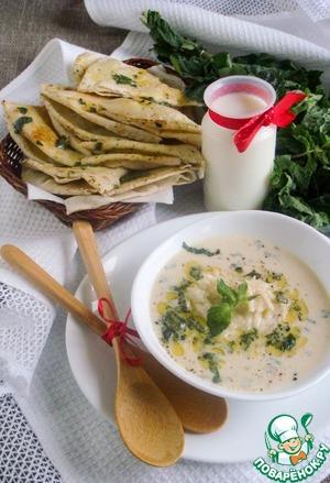 Готовый суп разлить по тарелкам, посыпать свежей мелконарезанной мятой и свежемолотым черным перцем, подать с лепешками.   Такой суп получается очень сытным, с нежной йогуртной текстурой, разбавленной ароматным рисом, и приятным кисловатым послевкусием, дополненным ароматом мяты.