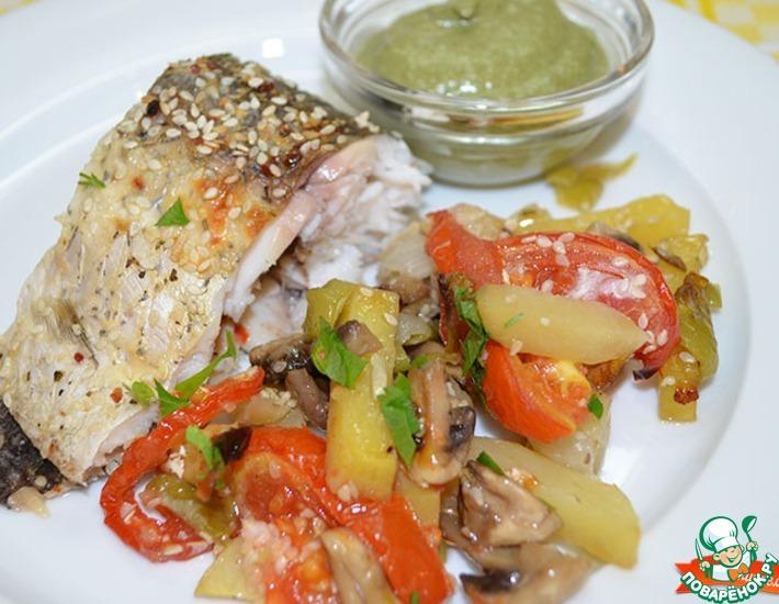 Рецепт: Запеченный амур с овощами