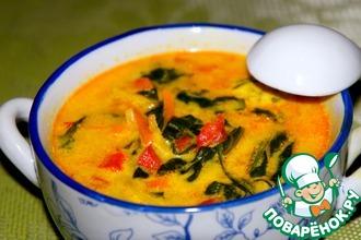 Рецепт: Овощной суп со шпинатом
