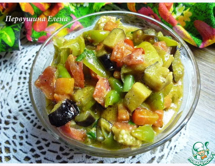 Рецепт: Овощи в сливочно-соевом соусе