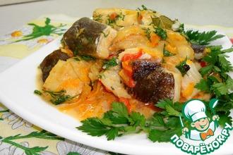 Рецепт: Палтус, припущенный на овощной подушке