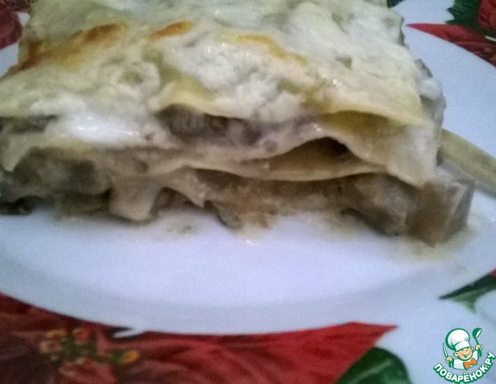 Рецепт: Лазанья с баклажанами под соусом бешамель