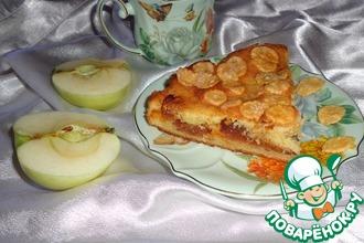 Рецепт: Сметанный пирог с начинкой из карамелизованных яблок