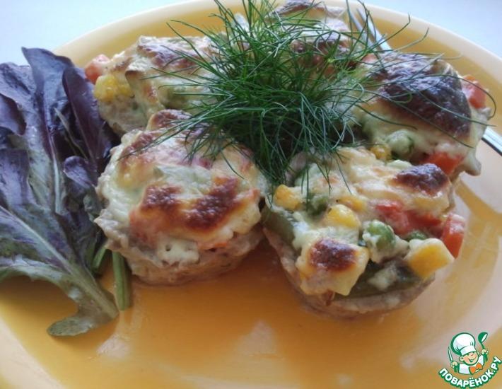 Рецепт: Мясные корзиночки с овощами и соусом Бешамель