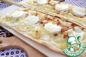 Рецепт: Тарт фламбе с козьим сыром и медом