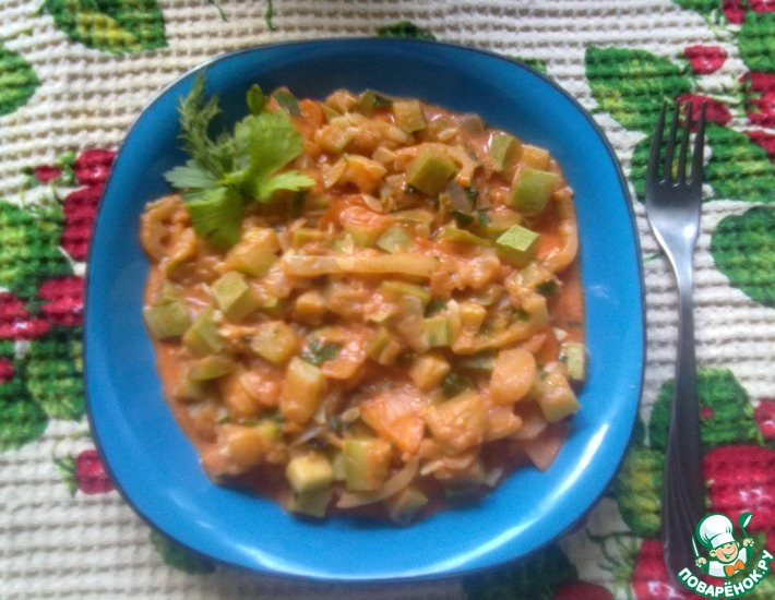 Рецепт: Тушеные кабачки (мамин рецепт)
