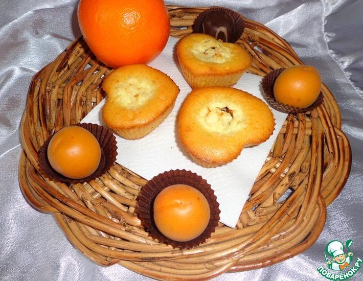 Рецепт: Апельсиновые кексы с творожно-шоколадной начинкой