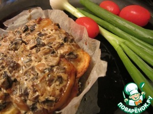 Рецепт Говядина с картофелем и грибами в сливках, запеченные в пергаменте