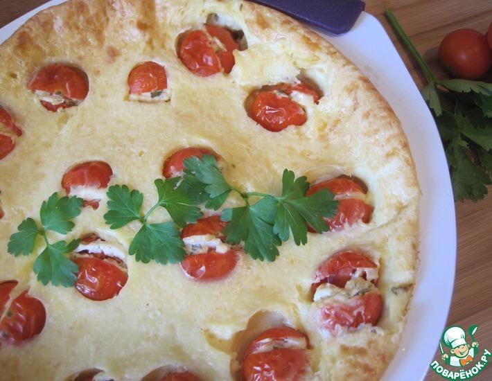 Рецепт: Клафути закусочный с фаршированными помидорами черри