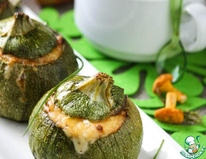 Рецепт: Кабачки, запеченные с грибами и шелковистый крем-суп