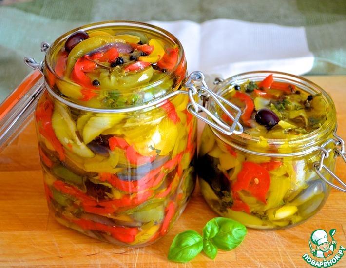 Рецепт: Маринованные летние овощи с лимоном и базиликом