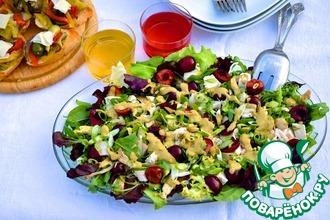 Рецепт: Салат из курицы с черешней и соусом кари