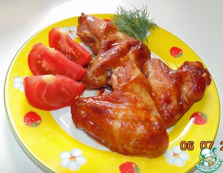 Рецепт: Куриные крылышки в медово-соевом соусе