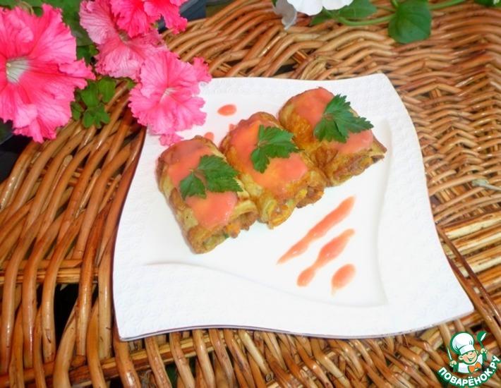 Рецепт: Рулетики из кабачка с мясной начинкой