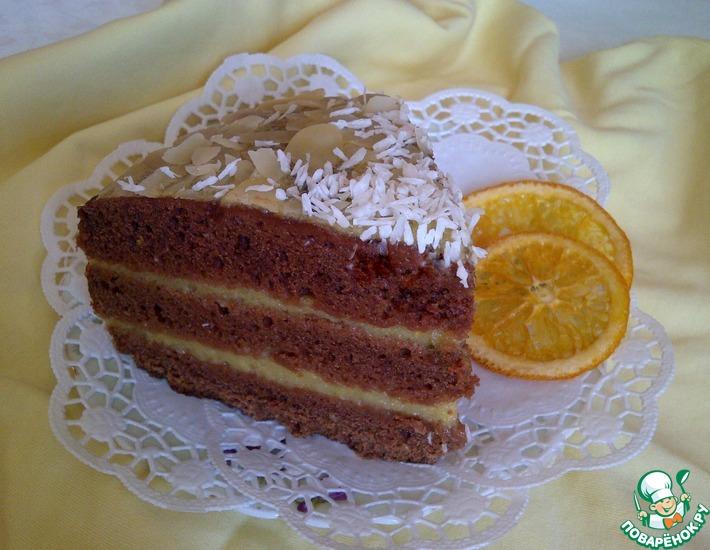 Рецепт: Постный шоколадный торт с апельсиновым кремом