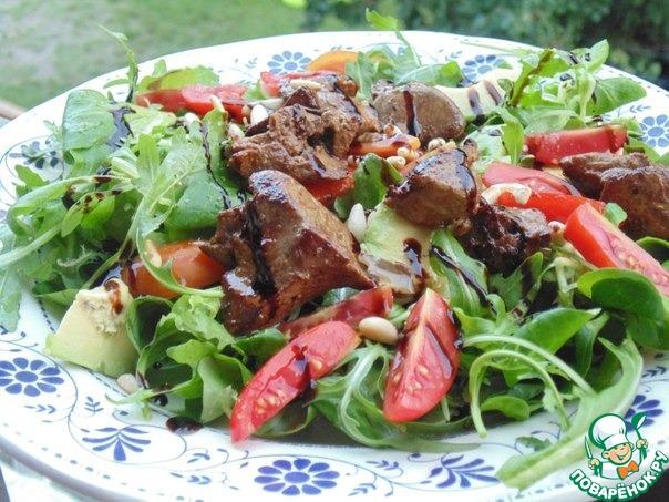 рецепт теплого салата с печенью