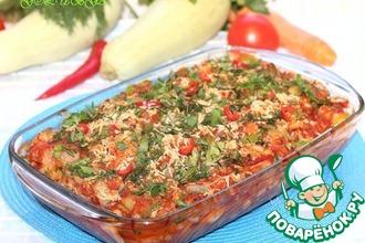 Рецепт: Цветная капуста с курицей в томатно-овощном соусе