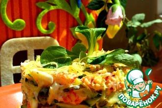Рецепт: Летний салат с раковыми шейками