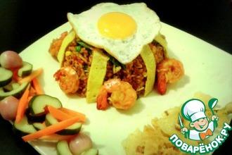 Рецепт: Жареный рис по-индонезийски с креветками и овощами в уксусе (Nasi goreng)