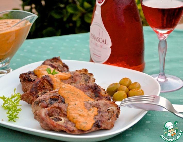Рецепт: Баранина под соусом сабайон из красного перца
